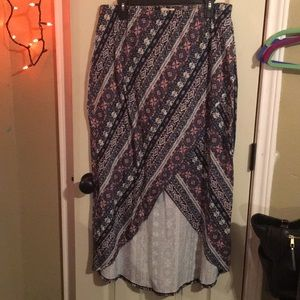 NWOT Maurices Blue and pink high low skirt